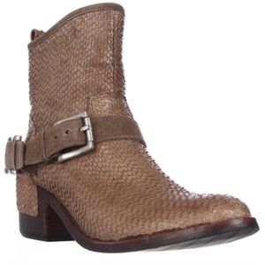 Donald J Pliner taupe leather ankle moto boots
